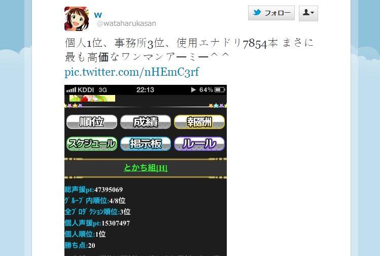 Twitter / @wataharukasan: 個人1位、事務所3位、使用エナドリ7854本 まさに ... より